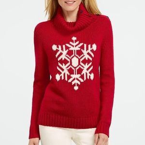 Talbots Red Snowflake Knit Turtle Neck Sweater